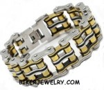 Men's  Double Wide  Primary Bike Chain  Stainless Steel  Biker Bracelet  5 Lengths  FREE SHIPPING - Product Image