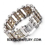 Men's  Double Wide  Primary Motorcycle Bike Chain Bracelet  Stainless Steel  FREE SHIPPING - Product Image