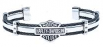 Harley-Davidson®  Stainless Steel  Men's Black Cable  Cuff Bracelet  by Mod® - Product Image