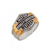 CLOSE OUT PRICE  Harley-Davidson ® Flaming Bar and Shield  Men's Ring - Product Image