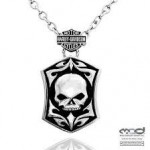 Harley-Davidson®  Stainless Steel  Tribal Willie G Skull  Men's Necklace  by Mod® - Product Image