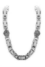 Men's Harley-Davidson® Stainless Steel Square Byzantine Bar & Shield Necklace - Product Image
