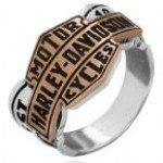 OUT OF STOCK  Men's  Harley-Davidson ®  Sterling Silver and Copper  Bar & Shield Logo Ring  Available in Sizes 10-15 - Product Image