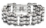 Men's  Primary Bike Chain  Stainless Steel  Silver/Black  Motorcycle  Biker Bracelet  3 Lengths  FREE SHIPPING - Product Image