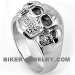 Stainless Steel  3 Skull Men's Biker Ring  Sizes 9-15  FREE SHIPPING - Product Image