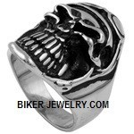 Men's Stainless Steel Skull Motorcyclist Ring With GogglesSizes 9-15FREE SHIPPING - Product Image
