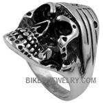 Men's Stainless Steel Biker Bandana Skull RingSizes 9-15FREE SHIPPING - Product Image