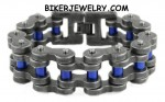 Stainless Steel Men's Police Officer Black and Blue Bike Chain Motorcycle Bracelet FREE SHIPPING - Product Image