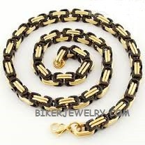 BYZANTINE  Stainless Steel  Black and Gold Men's Necklace  FREE SHIPPING - Product Image