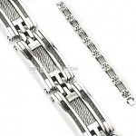 Stainless Steel Designer Cable Carbon Fiber Men's Bracelet FREE SHIPPING - Product Image