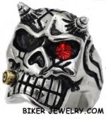 Men's  Stainless Steel  Skull with Horns  Biker Ring  Sizes 8-13  FREE SHIPPING - Product Image