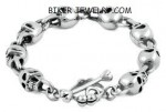 Men's Stainless Steel Large Skull Link Biker Bracelet  Many Lenghts  FREE SHIPPING - Product Image