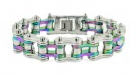 Men's Stainless Steel  Multi Colors Motorcycle Bracelet  FREE SHIPPING - Product Image