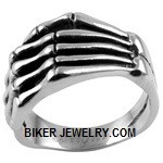 Men's  Stainless Steel  Skeleton Hand Biker Ring  Sizes 8-16  FREE SHIPPING - Product Image