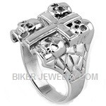 Men's Stainless Steel Skull and Cross Biker RingSizes 8-18FREE SHIPPING - Product Image
