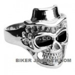 Men's Stainless Steel Top Hat Skull Biker RingSizes 9-15FREE SHIPPING - Product Image