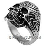 Men's  Stainless Steel  Biker Tribal Skull Ring  Sizes 9-15  FREE SHIPPING - Product Image