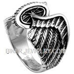 Men's Stainless Steel Winged WheelClassic Biker RingSizes 9-16FREE SHIPPING - Product Image