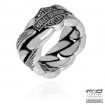 Men's  Wedding Band   Sterling Silver  Harley-Davidson ®  Wing Chain Ring  Available in Sizes 12-15 - Product Image