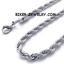 Men's or Ladies  Stainless Steel  3mm Rope Necklace 5 Lengths  FREE SHIPPING - Product Image