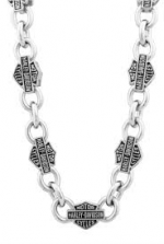 Men's  Harley-Davidson®  Stainless Steel  Bar & Shield Necklace - Product Image