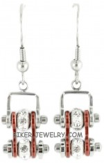 Ladies Mini  Stainless Steel  Chrome/Candy Red  Bling Motorcycle Bike Chain Earrings  FREE SHIPPING - Product Image