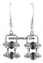 EARRINGS  Ladies Mini  Stainless Steel  Black Ice Crystals  Bling Motorcycle Bike Chain  FREE SHIPPING - Product Image