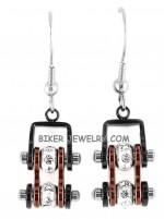 EARRINGS  Ladies Mini  Stainless Steel  Black/Candy Red  Bling Motorcycle Bike Chain  FREE SHIPPING - Product Image