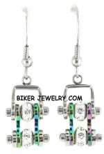 Ladies Mini  Stainless Steel  Multi Color  Bling Motorcycle Bike Chain Earrings  FREE SHIPPING - Product Image