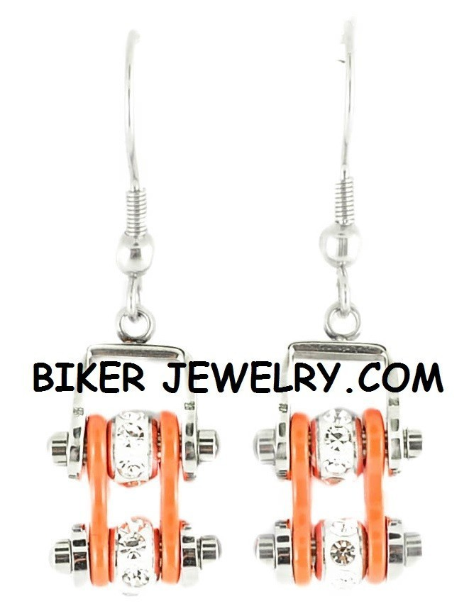 Ladies Mini  Stainless Steel  Chrome and Orange  Bling Motorcycle Bike Chain Earrings  FREE SHIPPING - Product Image