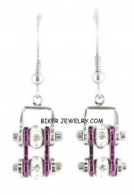 EARRINGS  Ladies Mini  Stainless Steel  Chrome/Candy Purple  Bling Motorcycle Bike Chain  FREE SHIPPING - Product Image