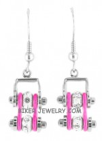 EARRINGS  Ladies Mini  Stainless Steel  Chrome/Pink  Bling Motorcycle Bike Chain  FREE SHIPPING - Product Image