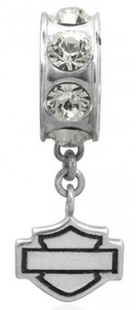 RIDE BEAD  Harley Davidson ®/Mod ®  Sterling Silver  Bling Dangle Logo  Does fit Pandora  ® - Product Image