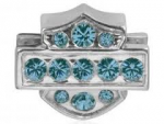 RIDE BEAD  Mod ®/Harley Davidson ®  Bar & Shield  Light Blue Crystal  Ride Bead  Sterling Silver  Does fit Pandora  ® - Product Image
