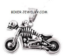 Pendant  with Rope Chain  Motorcycle Skeleton Pendant  Stainless Steel  4 Lengths   FREE SHIPPING - Product Image