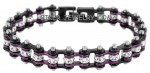 LADIES  Black an Purple  New Mini Bracelet  Stainless Steel  Bling Motorcycle Bracelet with Crystals  4 lengths  FREE SHIPPING - Product Image