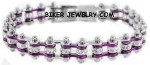 Motorcycle  Bike Chain  Ladies  Bracelet  Chrome and Pink  Mini with Crystals  FREE SHIPPING - Product Image