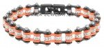 Black and Orange  New Mini Ladies  Stainless Steel   Bling Motorcycle Bracelet with Crystals  FREE SHIPPING - Product Image