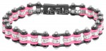 Black and Pink  New Mini Ladies  Stainless Steel  Bling Motorcycle Bracelet with Crystals  4 lengths  FREE SHIPPING - Product Image