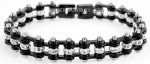 Mini Motorcycle  Bike Chain  Ladies  Bracelet  with Crystals  Stainless Steel  Black on Black  FREE SHIPPING - Product Image