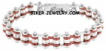 NEW MINI  Ladies  Stainless Steel  Chrome/Candy Red  Bling Motorcycle Bracelet with Crystals  4 lengths  FREE SHIPPING - Product Image