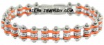 Ladies  Stainless Steel  Chrome/Orange  Bling Motorcycle Bracelet with Crystals  FREE SHIPPING - Product Image