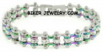 Ladies  Stainless Steel  Multi Colors  Mini Bracelet  Bling Motorcycle Bracelet with Crystals  FREE SHIPPING - Product Image