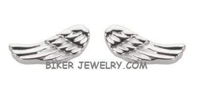 Small  POST EARRINGS  Ladies Angel Wing  Stainless Steel  FREE SHIPPING - Product Image