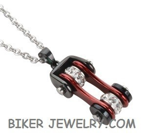 Pendant with Chain  Black an Candy Red  Motorcycle Bike Chain  Stainless Steel  FREE SHIPPING - Product Image