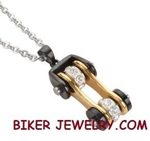 Pendant  with Chain  Black and Gold  Motorcycle  Bike Chain Design  Stainless Steel  FREE SHIPPING - Product Image