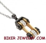 Pendant  with Chain  Black an Gold  Motorcycle  Bike Chain Design  Stainless Steel  FREE SHIPPING - Product Image