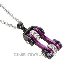 Motorcycle  Bike Chain  Pendant / Chain  Black an Purple  Stainless Steel  FREE SHIPPING - Product Image
