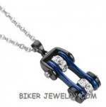 Pendant  with Chain  Black/Blue  Motorcycle  Bike Chain  Stainless Steel  FREE SHIPPING - Product Image
