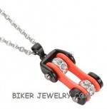 Motorcycle  Bike Chain Design  Pendant / Chain  Black/Orange  Stainless Steel  FREE SHIPPING - Product Image